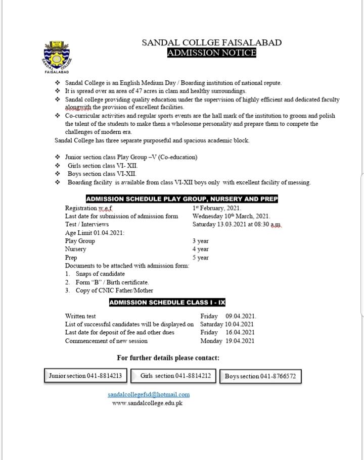 ADMISSION NOTICE             2021 – 22  (Class : I – IX)